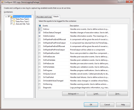 Image 1 -  Logging configuration window for the package node